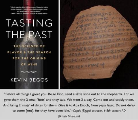 Image of book cover and text of Tasting the Past: The Science of Flavor & the Search for the Origins of Wine