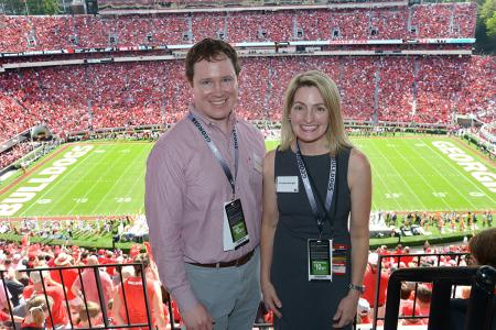 UGA Classics Professors Christine Albright and Peter O'Connell at the UGA-Tennessee football game